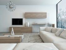 Современная белая живущая комната с деревянной мебелью бесплатная иллюстрация