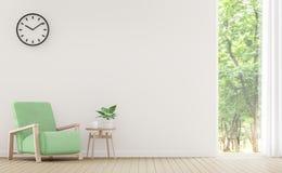 Современная белая живущая комната с пастельным изображением перевода мебели 3d Стоковое Изображение