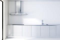 современная белая кухня 3d иллюстрация штока