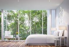 Современная белая спальня Стоковые Фото