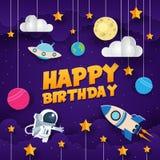 Современная бумажная иллюстрация поздравительой открытки ко дню рождения с днем рождений приключения космоса стиля искусства бесплатная иллюстрация