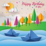 Современная бумажная иллюстрация поздравительой открытки ко дню рождения с днем рождений взгляда берега реки стиля искусства бесплатная иллюстрация