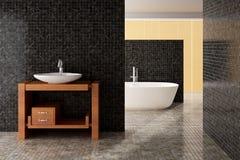 Современная ванная комната включая ванну и раковину стоковое фото rf