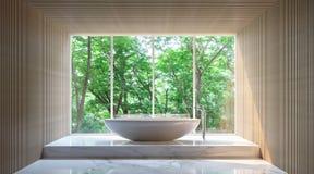 Современная ванная комната в лесе Стоковые Изображения RF