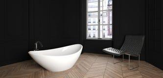 Современная ванная комната в роскошной квартире Стоковое Изображение