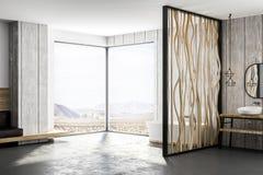 Современная ванная комната концепции с взглядом природы Иллюстрация штока
