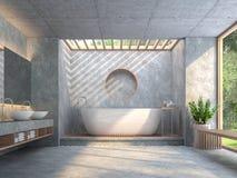 Современная ванная комната стиля просторной квартиры с отполированным конкретным 3d представляет Стоковое фото RF