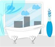 Современная ванная комната с большим окном Плоская иллюстрация вектора иллюстрация вектора