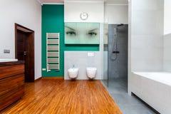 Современная ванная комната с cyan элементами Стоковая Фотография