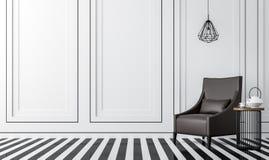 Современная винтажная живущая комната с черно-белым изображением перевода 3d Стоковое Фото