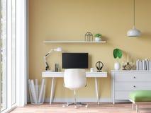 Современная винтажная комната деятельности с желтым изображением перевода стены 3d Стоковая Фотография RF