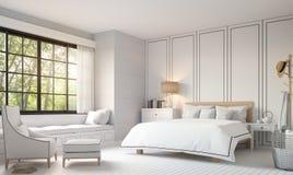 Современная винтажная спальня с черно-белым изображением перевода 3d Стоковые Изображения