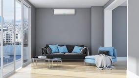 Современная внутренняя квартира при кондиционер 3D представляя беду бесплатная иллюстрация