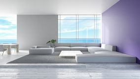 Современная внутренняя софа пола живущей комнаты деревянная установила перевод лета 3d вида на море тенденция 2 цвета стены миним бесплатная иллюстрация