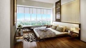 Современная внутренняя спальня Стоковая Фотография