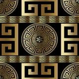 Современная геометрическая греческая безшовная картина Bac меандра золота вектора бесплатная иллюстрация