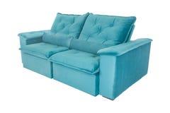 Современная голубая изолированная софа кресла замши Стоковая Фотография