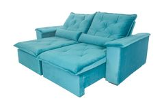 Современная голубая изолированная софа кресла замши Стоковые Изображения RF