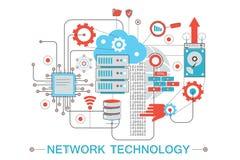 Современная графическая плоская линия концепция infographics стиля дизайна технологии глобальной вычислительной сети с значками,  иллюстрация штока