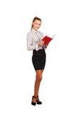 Современная женщина с Красной книгой в росте рук полном Стоковое Изображение