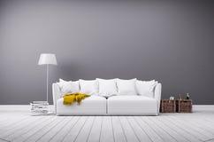 Современная живущая комната в минималистичном стиле с софой