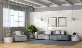 Современная живущая комната в просторной квартире бесплатная иллюстрация