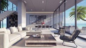 Современная живущая комната, дизайн интерьера 3D представляет Стоковые Фотографии RF