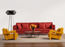 Современная живущая комната с красной софой Стоковое фото RF