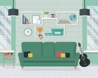 Современная живущая комната с мебелью в плоском стиле Стоковые Изображения