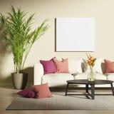Современная живущая комната с насмешкой вверх по плакату Стоковые Изображения