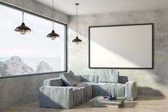 Современная живущая комната с плакатом иллюстрация вектора