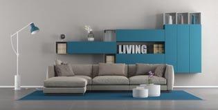 Современная живущая комната с софой и bookcase иллюстрация вектора
