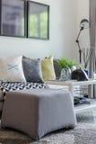 Современная живущая комната с строкой подушки на софе Стоковые Фото