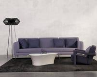 Современная живущая комната с фиолетовой софой Стоковые Фото