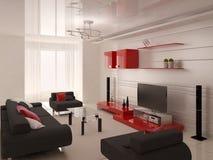 Современная живущая комната с функциональной мебелью Стоковая Фотография