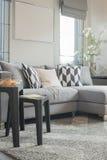 Современная живущая комната с черной белизной abd pillows стоковые изображения rf