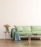 Современная зеленая живущая комната Стоковое фото RF