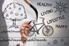Современная здоровая концепция образа жизни стоковые изображения rf