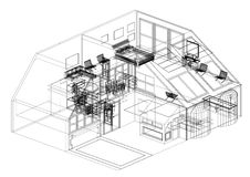 Современная изолированная светокопия архитектора дизайна дома - бесплатная иллюстрация