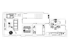 Современная изолированная светокопия архитектора дизайна квартиры - иллюстрация вектора