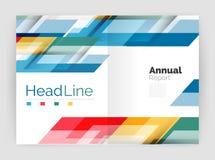 Современная линия дизайн, концепция движения Шаблоны брошюры годового отчета дела иллюстрация штока