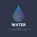 Современная линия логотип вектора падения воды Стоковые Изображения