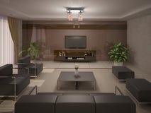 Современная и удобная живущая комната Стоковое фото RF