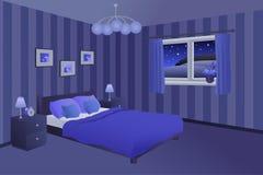 Современная иллюстрация окна ламп подушек кровати голубой черноты ночи спальни Стоковая Фотография