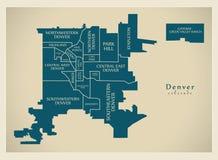 Современная карта города - город Денвера Колорадо США с neighborh Стоковые Изображения