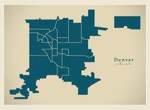 Современная карта города - город Денвера Колорадо США с neighborh Стоковая Фотография