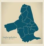 Современная карта города - город Людвигсхафена Германии с городами DE Стоковое Изображение