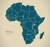 Современная карта - континент Африки с границами иллюстрация вектора