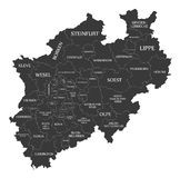 Современная карта - северная карта Рейн-Вестфалии Германии с графствами и чернотой ярлыков иллюстрация вектора
