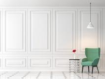 Современная классическая живущая комната 3d представляет, обеспеченный с зеленым стулом ткани бесплатная иллюстрация